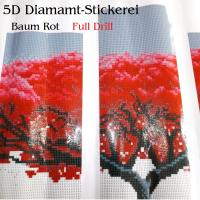 5D Diamant-Stickerei -5 tlg. Roter Baum- Full Drill- - 5D Diamant-Stickerei -5 tlg. Roter Baum- Full Drill- 5D Diamant-Stickerei