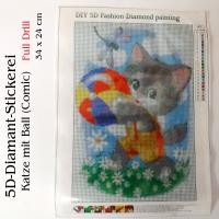 5D Diamant-Stickerei -Comic Katze mit Ball- Full Drill-